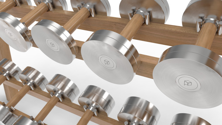 Steel and wood dumbells and rack from Paragon Studio