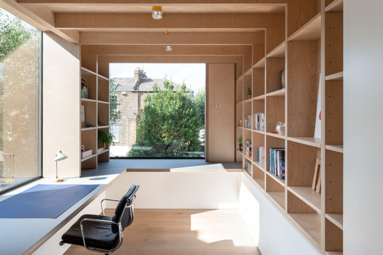 The plywood study at the top of the Passivhaus