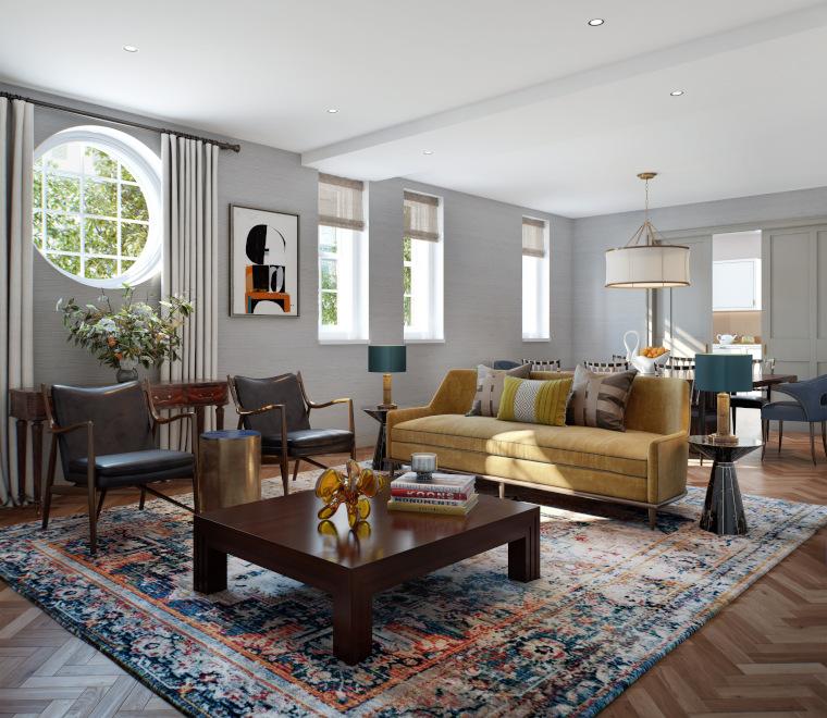 Living room design includes vintage furniture
