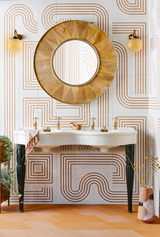 Mazes tiles in white and marigold from Bert & May