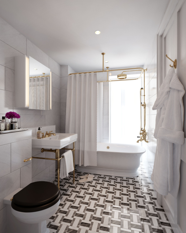 Bathroom are traditional in style