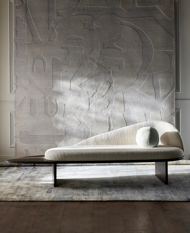 Jigsaw and Moon Silk rugs from Riviere