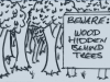 cartoon 'Beware wood hidden by trees'