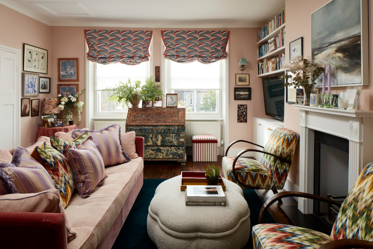 The living room at Cath Beckett's home Yellow London