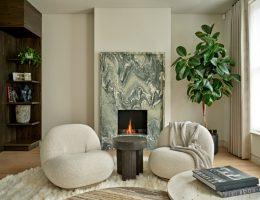 Green fireplace in the living room